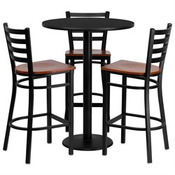 5 Piece Round Laminate Table Set in Black and Cherry