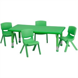 Flash Furniture 5 Piece Rectangular Activity Table Set in Green
