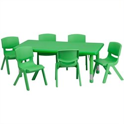 Flash Furniture 7 Piece Rectangular Activity Table Set in Green