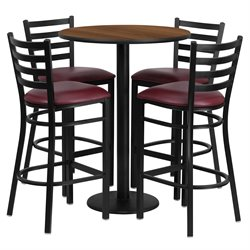 Flash Furniture 5 Piece Round Table Set in Walnut and Black