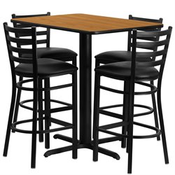 5 Piece Rectangular Table Set in Black and Natural