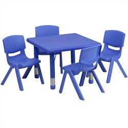 Flash Furniture 5 Piece Square Adjustable Activity Table Set in Blue