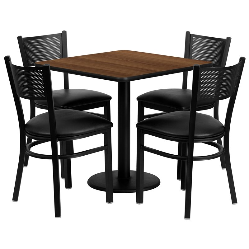 Flash Furniture 5 Piece Square Laminate Table Set in Walnut and Black