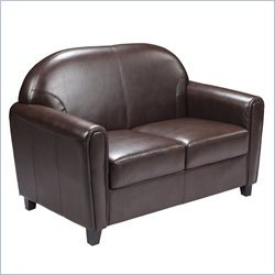 Flash Furniture Hercules Envoy Leather Love Seat in Brown