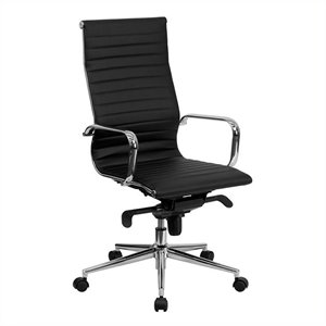 High Back Ribbed Leather Office Chair in Black