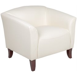 Flash Furniture Hercules Imperial Leather Chair in White and Cherry