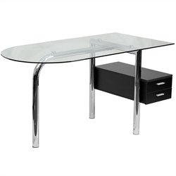 Flash Furniture Glass Computer Desk in Black