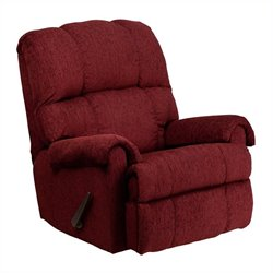 Flash Furniture Tahoe Chenille Rocker Recliner in Burgundy