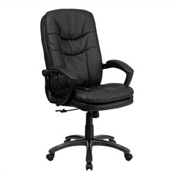 Flash Furniture Mid-Back Massaging Leather Office Chair in Black