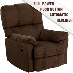 Flash Furniture Top Hat Microfiber Power Recliner in Chocolate