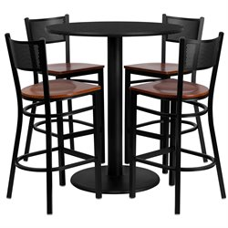 Flash Furniture 5 Piece Round Laminate Table Set in Black and Cherry