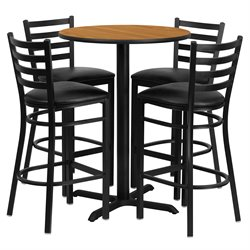 5 Piece Round Laminate Table Set in Black and Natural