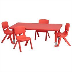 5 Piece Rectangular Activity Table Set in Red