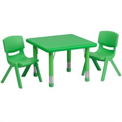 Flash Furniture 3 Piece Square Adjustable Activity Table Set in Green