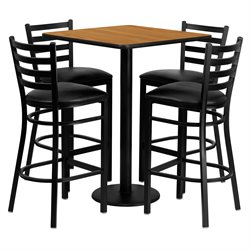 5 Piece Square Table Set in Black and Natural
