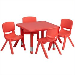 Flash Furniture 5 Piece Square Adjustable Activity Table Set in Red