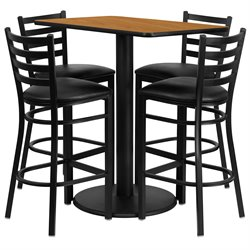 Flash Furniture 5 Piece Rectangular Table Set in Natural and Black