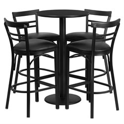 5 Piece Round Black Laminate Table Set in Black