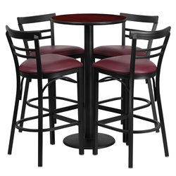Flash Furniture 5 Piece Round Table Set in Mahogany and Black