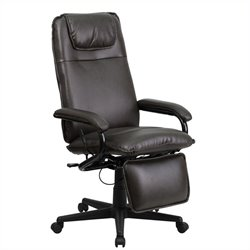 High Back Leather Reclining Office Chair in Brown