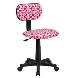 Flash Furniture Pink Dot Printed Computer Chair in White
