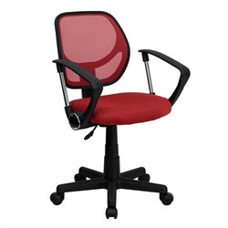 Mid Back Mesh Task Office Chair with Arms in Red