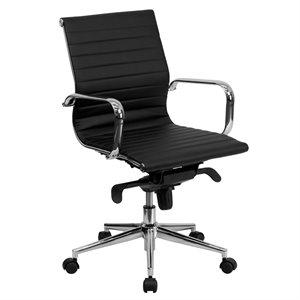 Mid-Back Ribbed Leather Conference Office Chair in Black