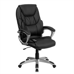 High Back Massaging Leather Office Chair in Black