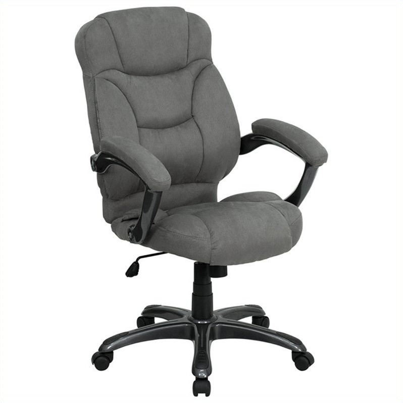 High Back Gray Microfiber Upholstered Office Chair