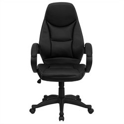 Flash Furniture High Back Contemporary Office Chair in Black Leather