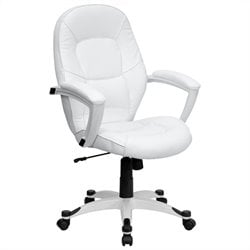 Mid-Back Leather Executive Office Chair in White