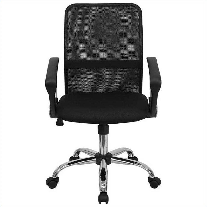 Mid Back Black Mesh Computer Office Chair With Chrome Base