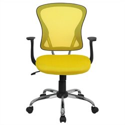 Flash Furniture Mid Back Mesh Office Chair in Yellow