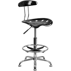 Flash Furniture Vibrant Drafting Stool Seat in Black and Chrome