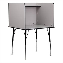 Study Carrel with Adjustable Legs in Nebula Grey