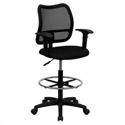 Flash Furniture Mid Back Mesh Drafting Stool in Black