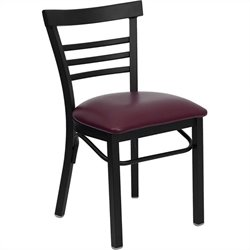 Flash Furniture Hercules Series Black Ladder Back Chair in Burgundy