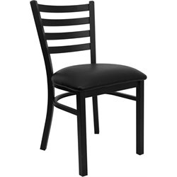 Flash Furniture Hercules Series Ladder Back Metal Chair in Black