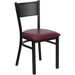 Flash Furniture Hercules Series Metal Dining Chair in Burgundy Vinyl