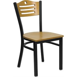 Flash Furniture Hercules Series Black Slat Back Metal Restaurant Chair