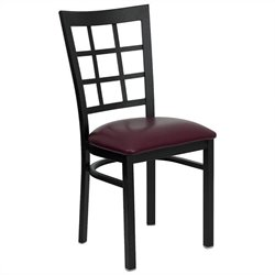 Flash Furniture Hercules Black Window Back Dining Chair in Burgundy