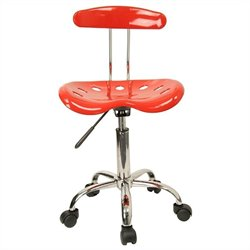 Flash Furniture Vibrant Computer Task Chair Seat in Red and Chrome