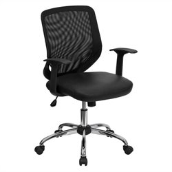 Mid-Back Office Chair with Mesh Back in Black