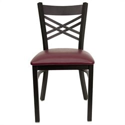 Flash Furniture Hercules Black Back Metal Dining Chair in Burgundy