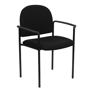 Stackable Side Guest Chair in Black with Arms
