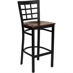Hercules Series Black Back Metal Bar Stool in Mahogany