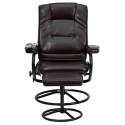 Flash Furniture Massaging Recliner and Ottoman in Brown with Base