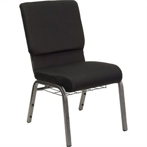 Church Stacking Chair in Black and Silver