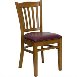 Flash Furniture Hercules Dining Chair in Cherry with Burgundy Seat