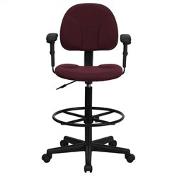 Flash Furniture Patterned Drafting Stool in Burgundy with Arms